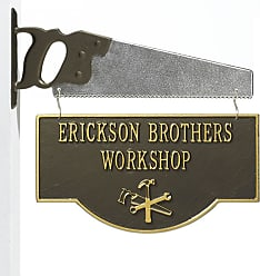 Whitehall Personalized 2-Sided Workshop Sign with Saw Bracket, in Cast Aluminum