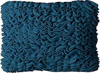 Rizzy Home One of a Kind Solid Fleece Ruffled Front Decorative Pillow, Blue