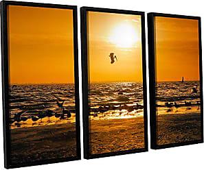 ArtWall 3 Piece Steve Ainsworths In for The Landing Floater Framed Canvas Set, 36 x 54