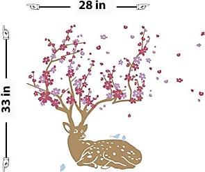 The Decal Guru Cherry Blossom Deer Wall Decal
