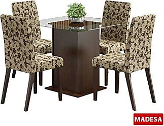 Madesa Conjunto de Mesa com 4 Cadeiras Tais Tabaco E Floral