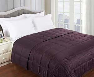 Home City Inc. Superior Reversible Down Alternative Polyfill Bed Blanket with Silky Soft Striped Microfiber Shell - King, Plum
