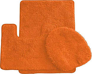 Ben&Jonah Ben & Jonah Simple Elegance by Ben&Jonah (18 x 30), 1 Contour Mat 1 Toilet Seat Cover (APX 18 x 18) -Orange 3 Piece Bath Rug Set