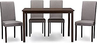 Wholesale Interiors Baxton Studio 5 Piece Andrew Contemporary Espresso Wood and Grey Fabric Dining Set