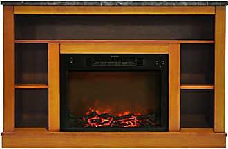 Cambridge Silversmiths Seville Fireplace Mantel with Electronic Fireplace Insert, Teak