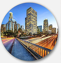 DESIGN ART Designart Downtown LA with Traffic Trail Cityscape Metal Wall Art Disc of 38 inch, 38x38-Disc