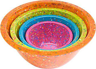 Zak designs 1454-7005 Confetti Mixing Bowl Set, 4-Piece, Assorted - Orange