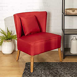 Walker Edison WE Furniture AZH31UPCBRD Accent Chair, Red