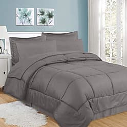 Sweet Home Collection 8 Piece Comforter Set Bag with Checkered Design, Bed Sheets, 2 Pillowcases, 2 Shams Down Alternative All Season Warmth, King, Gray