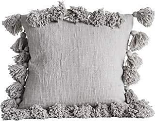 Creative Co-op Grey Square Cotton Pillow with Tassels