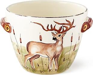 Vietri Wildlife Deer Deep Serving Bowl with Handles