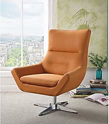 Benzara BM185621 Metal Accent Chair with Swivel Seat, Orange