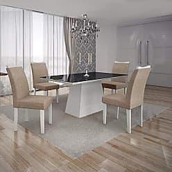 Leifer Conjunto Sala de Jantar Mesa Tampo MDF/Vidro Preto 4 Cadeiras Pampulha Leifer Branco/Linho Bege