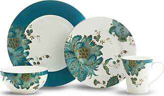 222 Fifth Eliza Teal 16 Piece Porcelain Dinnerware Set, Service for 4 (Eliza Teal 16 Piece Set)
