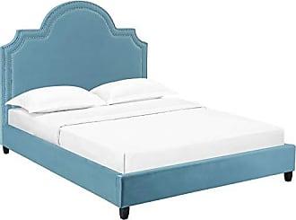 419615148af93d ModWay Primrose Performance Velvet Queen Platform Bed With Nailhead Trim in  Sea Blue