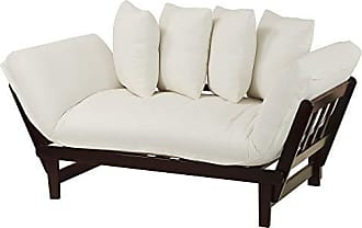 Yu Shan Casual Home Casual Lounger Sofa Bed Fabric Cover, Single, Espresso Frame/Ivory