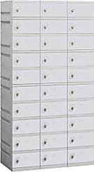Salsbury Industries Assembled 10-Tier Plastic Locker with Three Wide Storage Units, 738.25-Inch High by 18-Inch Deep, Gray