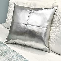 Five Queens Court Madden Metallic Faux-Leather Square Throw Pillow, Silver, 18x18