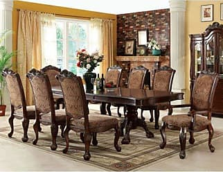 FURNITURE OF AMERICA 24/7 Shop at Home 247SHOPATHOME IDF-3103T-9PC Dining-Room-Sets, 9-Piece, Brown