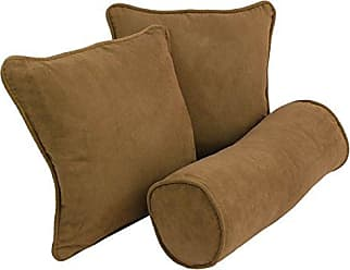Blazing Needles 9815-S3-CD-MS-SB Double-Corded Solid Microsuede Throw Pillows with Inserts (Set of 3), Saddle Brown