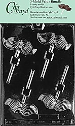 CybrTrayd D025-3BUNDLE Mustache Lolly Chocolate Candy Mold with Exclusive Copyrighted Chocolate Molding Instructions