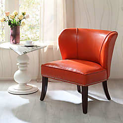 Madison Park FPF18-0040 Hilton Accent Chairs - Hardwood, Plywood, Wing Back, Deep Seat Bedroom Lounge Modern Classic Style Living Room Sofa Furniture, Orange