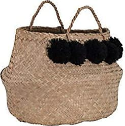 Creative Co-op Beige Collapsible Seagrass Handles & Black Poms (Set of 2 Sizes) Basket Set, Black