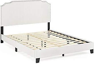 Furinno FB18014Q-BG Nadia Nailhead Trim Bed Frame, Queen, Gray