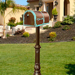 QualArc Qualarc Provincial Brass Mailbox With Hanford Post Ornate Bronze - MB-3000-PAT-HP700-BZ