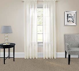 Ellery Homestyles Pairs To Go 16005118X084IVY Victoria Voile 118-Inch by 84-Inch Window Panel Pair, Ivory