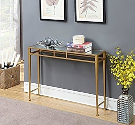 Convenience Concepts 227899MRG Hall Console Table, Mirror Top/Gold Frame