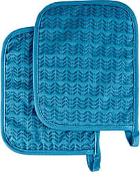 Trademark Global Pot Holder Set With Silicone Grip, Quilted And Heat Resistant (Set of 2) By Lavish Home (Blue)