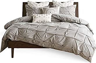 Ink + Ivy LAF02-0328 Masie 3 Piece Elastic Embroidered Cotton Comforter Set Gray Full/Queen