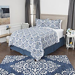 Rizzy Home Andrew Charles Collection 3 Piece Cotton Duvet Cover Floral Bedding Set, King, White/Indigo