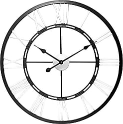 Infinity Instruments 28 All Metal Wall Clock, Oversized, Silver & Black
