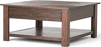 Simpli Home Monroe Solid Acacia Square Coffee Table in Distressed Charcoal Brown