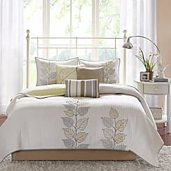 Madison Park Caelie King Size Quilt Bedding Set - Yellow, White, Leaf Embroidery - 6 Piece Bedding Quilt Coverlets - Ultra Soft Microfiber Bed Quilts Quilted Coverlet