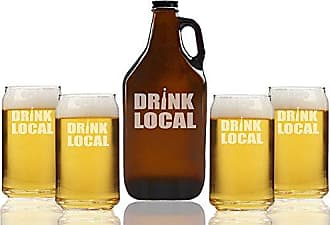Chloe and Madison Drink Local Beer Amber Growler & Can Glasses, Set of 5