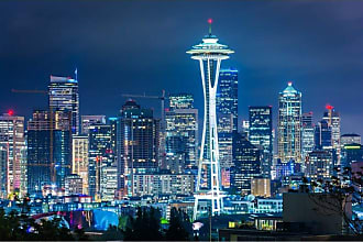 Noir Gallery View of the Seattle Skyline at Night on Canvas - SEA-03-TW-08