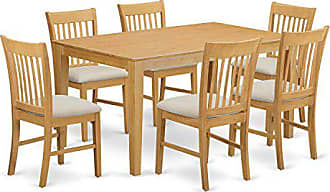 East West Furniture CANO7-OAK-C 7 PC Small Kitchen Table Set - Dining Table and 6 Dining Chairs