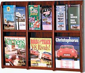 Wooden Mallet 6-Magazine/12-Brochure Divulge Wall Display with Brochure Inserts, Mahogany