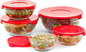 Imperial Home 5 Pcs Nested Glass Mixing Bowls Set With Apple Design and Red Lids - Set of 5 Glass Food Storage Containers