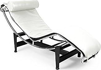 Kardiel Le Corbusier Style LC4 Chaise Lounge, Cream White Aniline Leather
