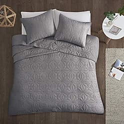 Urban Habitat Intelligent Design Caden Cal King Set-Grey, Geometric - 3 Piece Teen Girl Boy 100% Cotton Bed Quilted Coverlet, King King