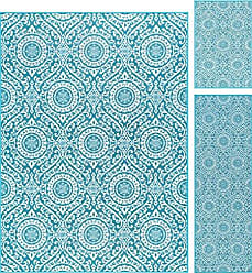 Tayse Universal Rugs Chesterfield Transitional Geometric Teal Non-Skid 3-Piece Area Rug Set, 3-Piece Set
