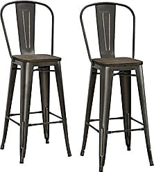 Dorel Home Products DHP Luxor Metal Counter Stool with Wood Seat and Backrest, Set of two, 30, Antique Copper