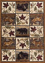 Tayse Portrait Wildlife Novelty Lodge Pattern Beige Rectangle Area Rug, 8 x 10