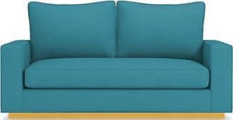 Apt2B Harper Twin Size Sleeper Sofa - Leg Finish: Natural - Sleeper Option: Deluxe Innerspring Mattress - Teal Performance Fabric - Sold by Apt2B - Mod