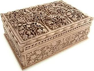 Novica Walnut jewelry box, Floral Dance - Floral Wood Jewelry Box from India