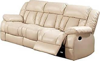 Benzara BM166025 Modern Leatherette Sofa, Ivory